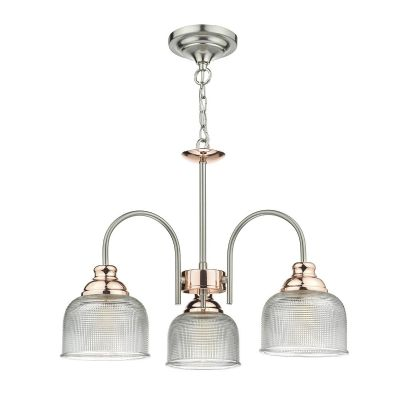 Wharfdale 3 Light Fitting in Satin Chrome and Copper with Prismatic Glass Shades - där WHA0346